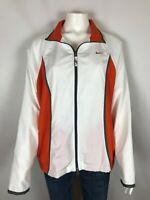Nike Womens Windbreaker Jacket Size Large 12-14 White Orange Full Zip Pockets