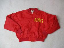 VINTAGE Alpha Ny Omega Jacket Adult Large Red Yellow Fraternity Coat Mens 80s *