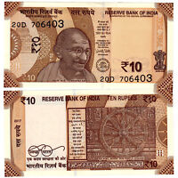 India Rs 10 Rupees NEW 2018 UNC Gandhi resized - 5 NOTES, CONSECUTIVE numbers