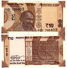 India Rs 10 Rupees NEW 2018 UNC Gandhi resized - 2 NOTES, CONSECUTIVE NUMBERS