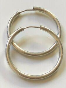 Smooth sterling silver '925' round hooped hoop earrings boho trophy