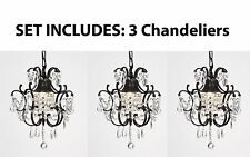 "WROUGHT IRON CRYSTAL CHANDELIER ISLAND PENDANT LIGHTING  H14"" W11"" **SET OF 3***"