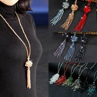 Fashion Crystal Bead Tassel Pendant Necklace Long Joker Sweater Chain Jewellery