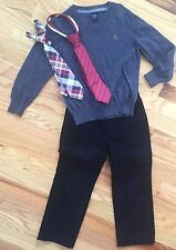 BABY GAP 3pc Outfit Lot BLACK UNIFORM PANTS, GRAY V-NECK SWEATER, NECK TIE 4 YRS
