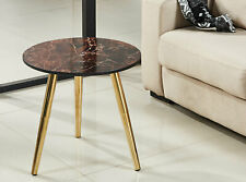Tea Coffee Table Side Table Round Marble Brown Steel Leg Chrome golden color