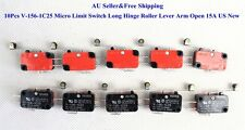 10Pcs V-156-1C25 Micro Limit Switch Long Hinge Roller Lever Arm Open 15A AU New