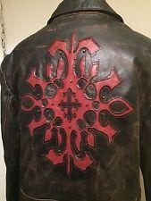 "Wilsons Leather ""Born To Rock""Jacket Sz Medium Retail$350.00 Rare Design"