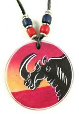 African Soapstone Necklace Hand Painted Carved Rhino Pendant Tribal Red Black