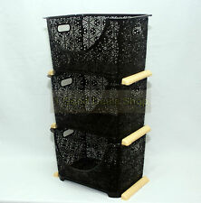 3 Tier Stacking Nesting Vegetable Storage Basket Rack Stand Kitchen Dark Brown