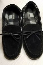 Rockport Men's 11.5/12 Black Suede Moccasin Slipper Indoor Outdoor EUC