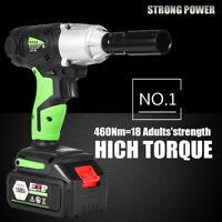 "21v Cordless Impact Wrench Gun 1/2"" Drive Electric 460N.m 4 Sockets 2x Batteries"