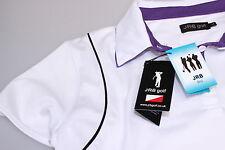 Ladies Moisture Wicking Golf Polo White Black Purple Trim Detailing M & L New