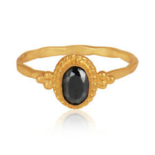 Hematite Gemstone Designer 925 Silver Gold Plated Women's Rings Jewelry