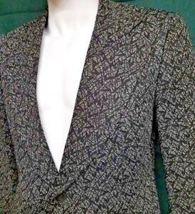 ULTRA HIP Genuine 60s Vintage Mens Textured Blazer Wide Lapel Black Small Short