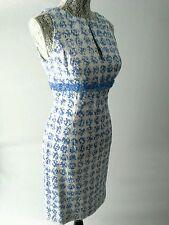 Carmen Marc Valvo White and Blue Periwinkle Eyelet Beaded V-slit Dress Sz 6 $375
