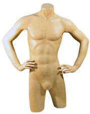 Mn-127 Fleshtone Freestanding Male Torso Mannequin Form with Arms On Waist