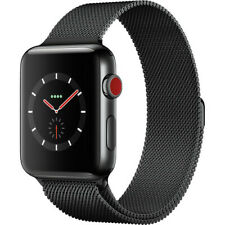 Apple watch series 3 stainless steel GPS + Cellullar 42mm Black Milanese Band