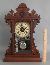 Antique Victorian Waterbury GRAHAM Walnut Mantle 8 Day Clock w Pendulum & Key