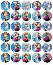 30 x Frozen Anna And Elsa Cupcake Toppers Edible Wafer Paper Fairy Cake Toppers