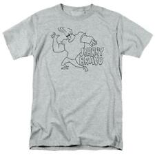 Johnny Bravo T-shirt cartoon network Retro 90's heather gray graphic tee CN465