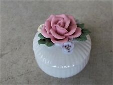 White Ceramic Porcelain Trinket Bowl with Pink White Roses Lid Flower Floral