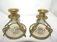 Deceased Estate 1960's Petit Point Tapestry Gold Tone Metal Candle Stick Holders