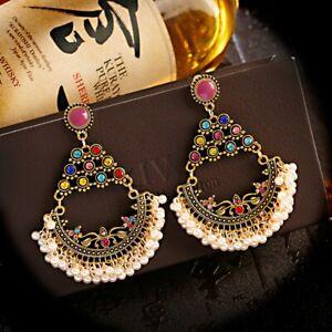 Retro Oxidized Jhumki Jhumka Earrings for Women Bohemian Ethnic Wedding Earring
