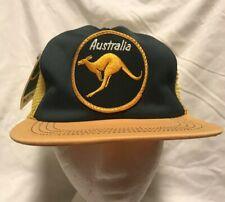 Vtg Australia Large Patch Kangaroo Souvenir Mesh Snapback Trucker Hat Cap