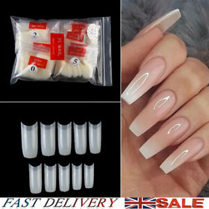500Pcs French Flase Nail Tips Square Full Cover Finger Nail Art Manicure New