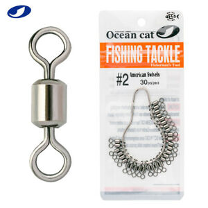 OCEAN CAT 30-150 Pcs American Fishing Rolling Barrel Swivels Stainless Steel