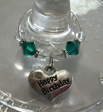 Swarovski® Crystal Birthstone Happy Birthday Wine Charm/Choice of Color
