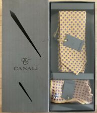 NEW! Canali 100% Silk Yellow Tie & Pocket Square Set, Hand Made In Italy
