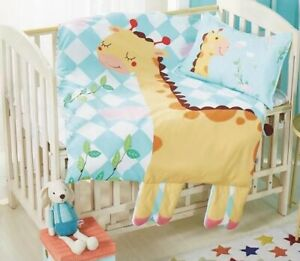 Cot Bed Cartoon Quilt Cover Sets 100% Pure Cotton Giraffe