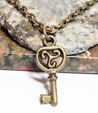 "TRISKELION KEY_Small Bronze Pendant on 18"" Chain Necklace_Irish Celtic Knot_70N"