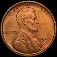1909 VDB 1C Lincoln Cent Wheat Penny Red RD US Coin Uncirculated UNC
