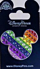 Disney Parks Rainbow Gay Pride MICKEY HEAD Jeweled pin - NEW