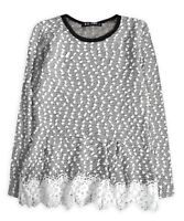 Girls Jumper New Kids Long Sleeve Knitted Lace Party Christmas Top  2 - 10 Years