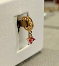 NEW Storywheels Charm 14K Yellow Gold Ruby Flower Dangle Charm W-10 Made in USA