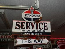 Antique style porcelain look Standard gas oil dealer service gas pump sign set
