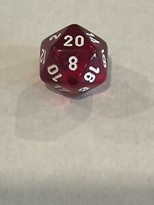 chessex test gemini clear/red d20 mostly red oop dice