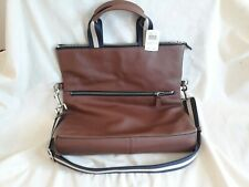 Coach Foldover Tote Dark Saddle Brown Leather Handbag new with tags
