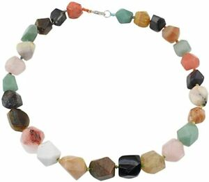 Women's Unique Chunky Multi-coloured Natural Gemstone Necklace for Women