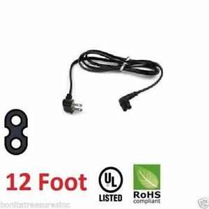 3903-000853 right angle 2-prong tv power cord 12f foot length Samsung Black