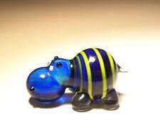 Blown Glass Art Animal Figurine Small Blue & Yellow Striped Hippopotamus Hippo