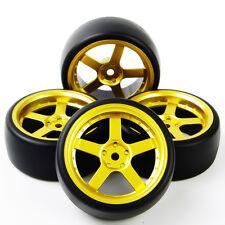 GOLD 4Pcs Drift Tires WheelRim For HSP HPI 1:10On Road RC Car PP0477+D5G