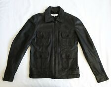 Black Scissors Slim Leather Mens Jacket Moto Biker Military 4 Pocket Slimane L