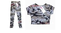 GIRLS KIDS GREY CAMO CAMOUFLAGE CROP TOP SUMMER LEGGINGS AGE 7 8 9 10 11 12 13