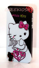 for iPhone 5 5s black white  cute kitty case hot pink diamond + screen protector