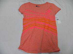 Roxy Womens Perfect Stripes T-Shirts Tees Top Short Sleeve Sz Small New Pink