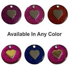 Personalised Engraved Glitter Tag Dog Cat Pet ID Tags Reflective Designs